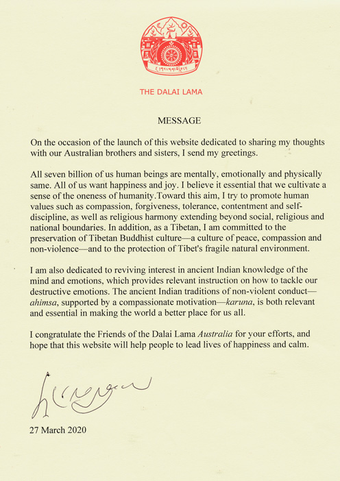 His Holiness the 14th Dalai Lama FDLA-Letter